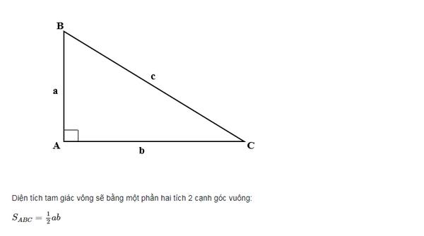 công thức tính tam giác vuông